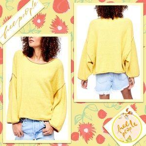 🌻 Free People Bardot Sweater in Yellow 🌻